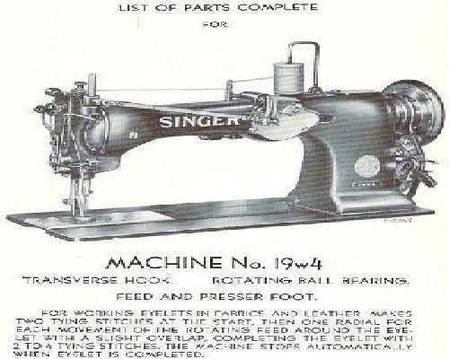 Singer 19w4 Industrial Sewing Machine Parts Manual